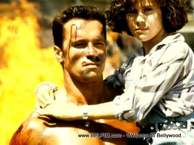 Arnold Schwarzenegger and Alyssa Milano in Commando