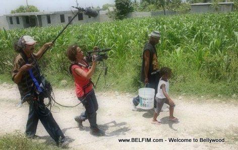 Rachele Magloire filming her movie DEPORTED in Haiti