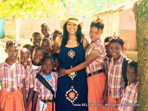 Actress Garcelle Beauvais visits a school in Haiti