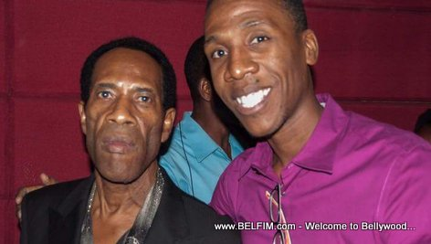 PHOTO: Haitian actor Jean Max Choute, Alias Frederic, and a fan